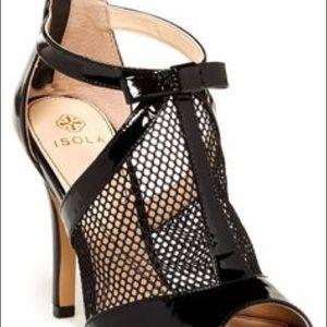 Isola Bevin Patent Leather Peep Toe Mesh Heel 7.5